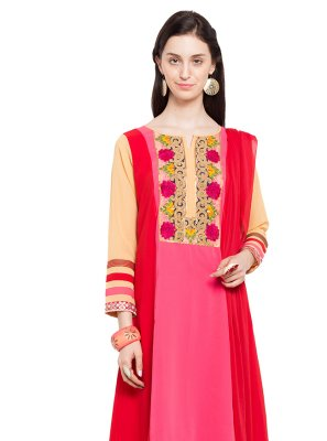 Faux Georgette Readymade Anarkali Salwar Suit in Pink and Red
