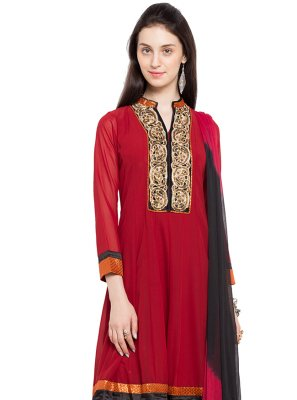 Faux Georgette Readymade Anarkali Salwar Suit in Red