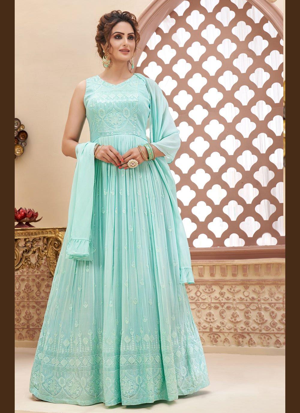 Faux Georgette Readymade Anarkali Suit in Aqua Blue