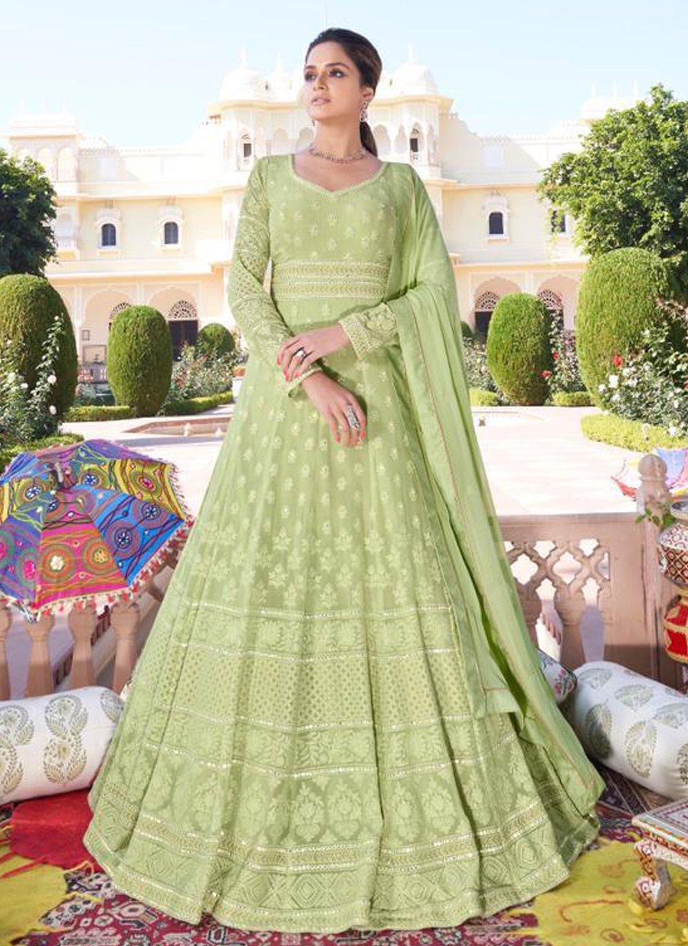 Faux Georgette Readymade Anarkali Suit in Green