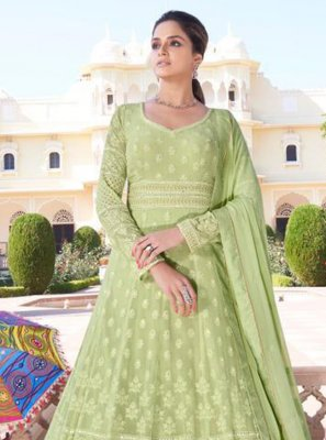Faux Georgette Readymade Anarkali Suit in Green
