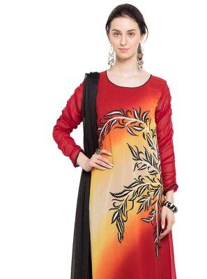 Faux Georgette Readymade Churidar Salwar Kameez in Multi Colour