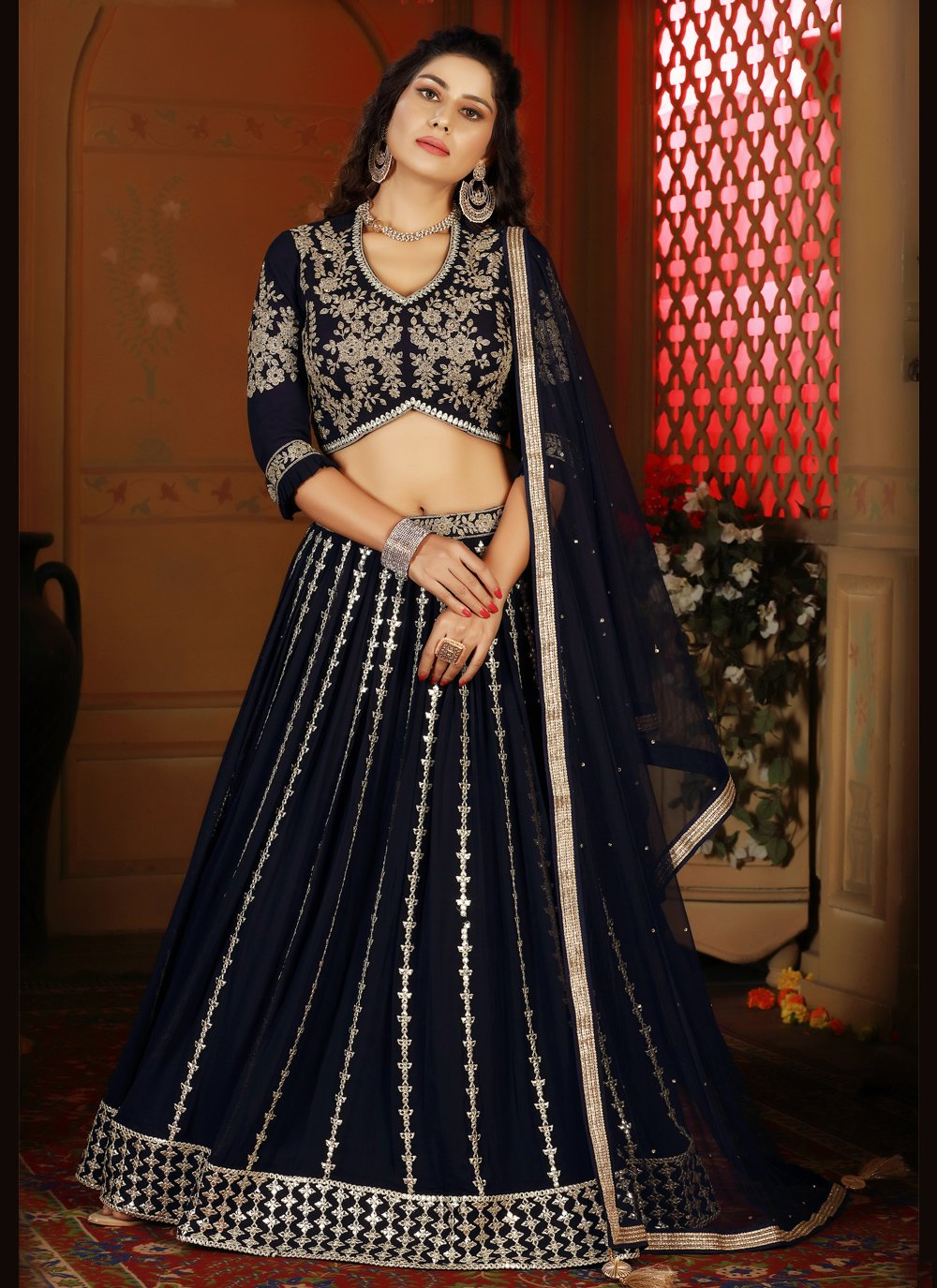 Faux Georgette Readymade Lehenga Choli in Navy Blue