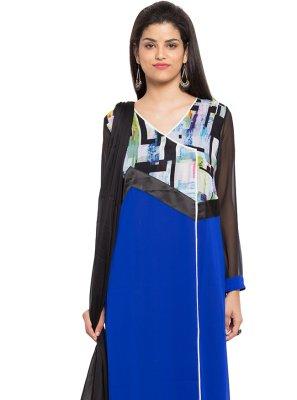 Faux Georgette Readymade Salwar Kameez in Blue