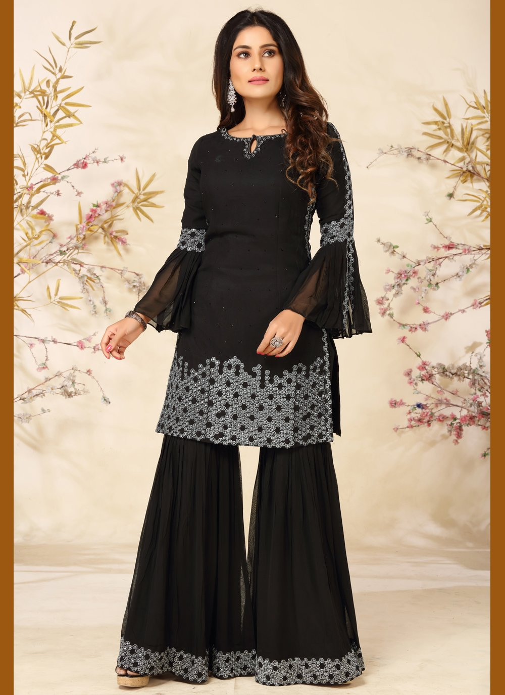Faux Georgette Readymade Suit in Black