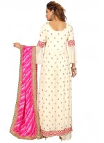 Faux Georgette Readymade Suit in Cream