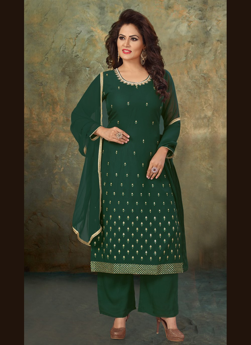 Faux Georgette Readymade Suit in Green