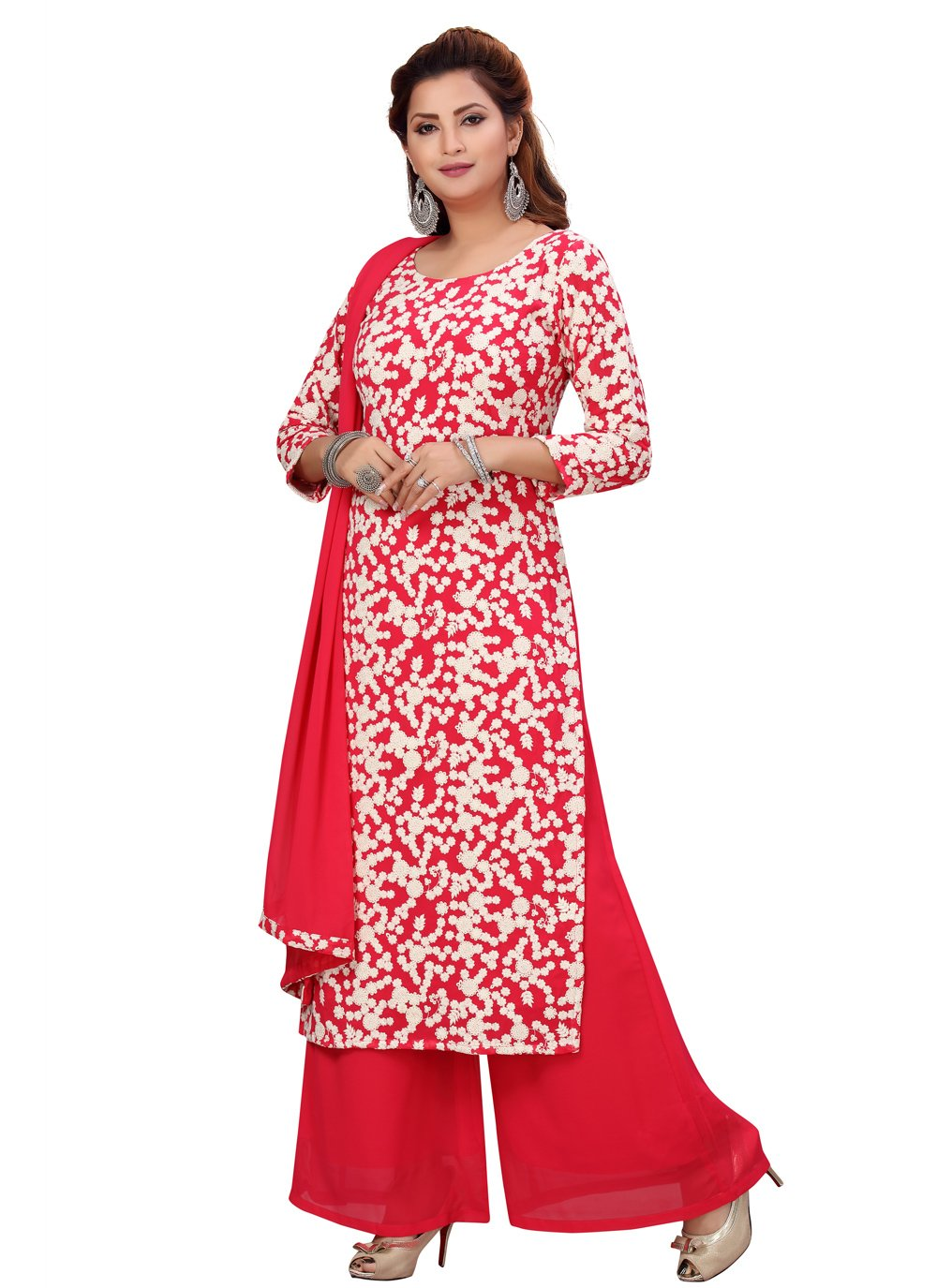 Faux Georgette Readymade Suit in Hot Pink