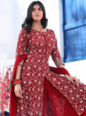 Faux Georgette Readymade Suit in Maroon