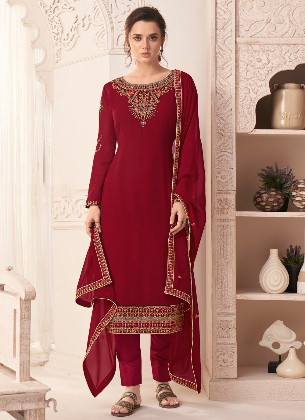 Faux Georgette Red Embroidered Pant Style Suit