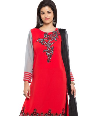 Faux Georgette Red Embroidered Readymade Salwar Kameez