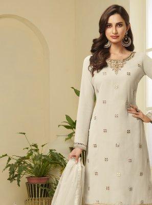 Faux Georgette Resham Cream Designer Palazzo Salwar Kameez