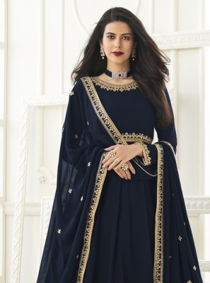 Faux Georgette Resham Floor Length Anarkali Suit
