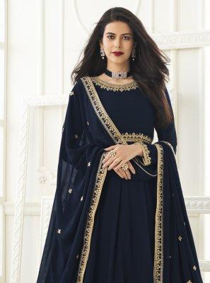 Faux Georgette Resham Floor Length Anarkali Suit