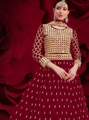 Faux Georgette Resham Floor Length Anarkali Suit in Maroon