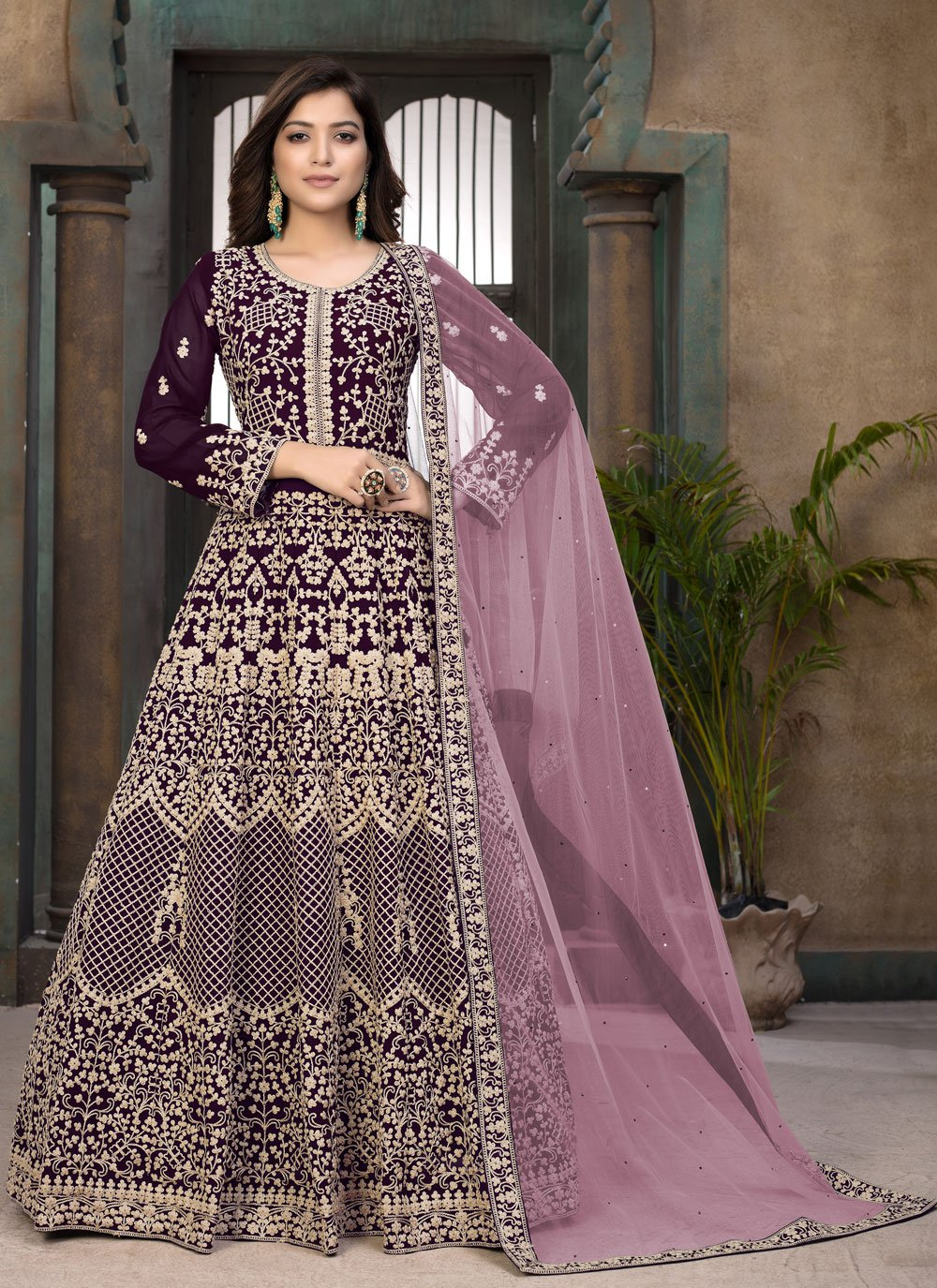 Faux Georgette Resham Floor Length Anarkali Suit in Wine