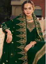 Faux Georgette Resham Green Designer Pakistani Suit
