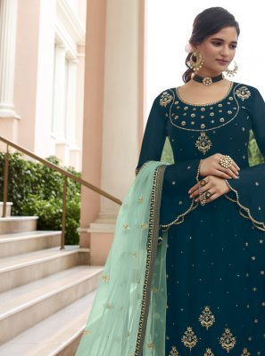 Faux Georgette Resham Pant Style Suit in Blue