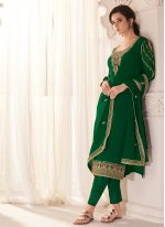Faux Georgette Resham Pant Style Suit in Green