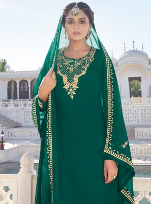 Faux Georgette Resham Readymade Suit in Green
