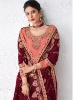 Faux Georgette Rose Pink Embroidered Designer Palazzo Suit