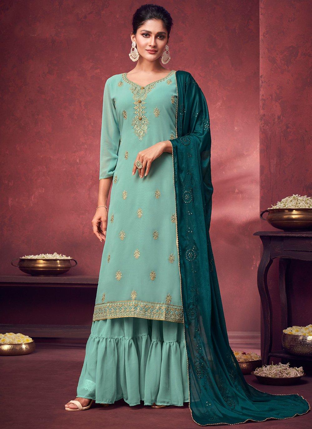 Faux Georgette Sea Green Designer Palazzo Salwar Suit