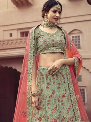 Faux Georgette Sea Green Embroidered Lehenga Choli