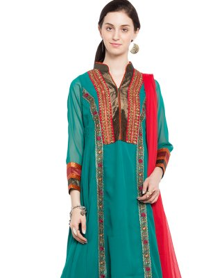 Faux Georgette Sea Green Embroidered Readymade Anarkali Salwar Suit