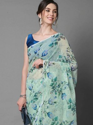 Faux Georgette Sea Green Sequins Trendy Saree