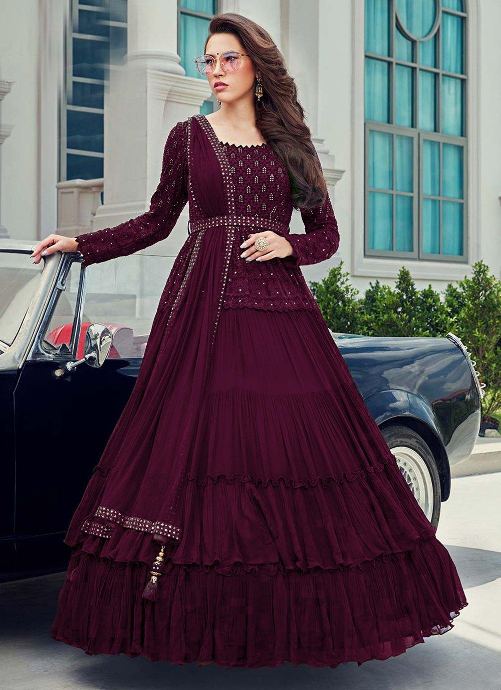 Faux Georgette Sequins Anarkali Salwar Suit in Wine