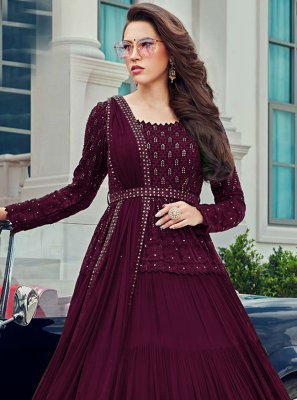 Faux Georgette Sequins Anarkali Salwar Suit in Wine