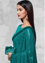 Faux Georgette Sequins Designer Saree in Sea Green