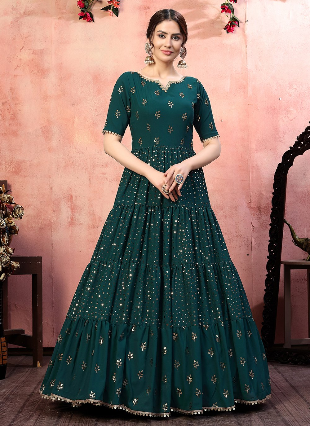 Faux Georgette Sequins Green Designer Gown