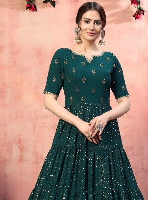 Faux Georgette Sequins Green Designer Gown