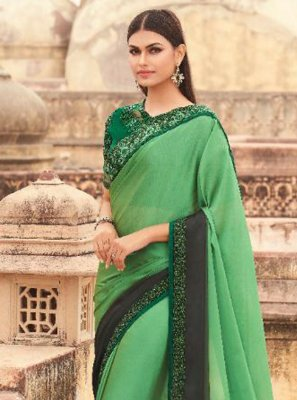 Faux Georgette Shaded Saree in Green