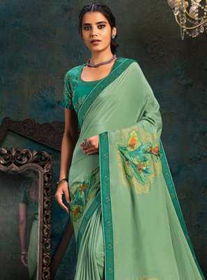 Faux Georgette Stone Work Sea Green Classic Saree