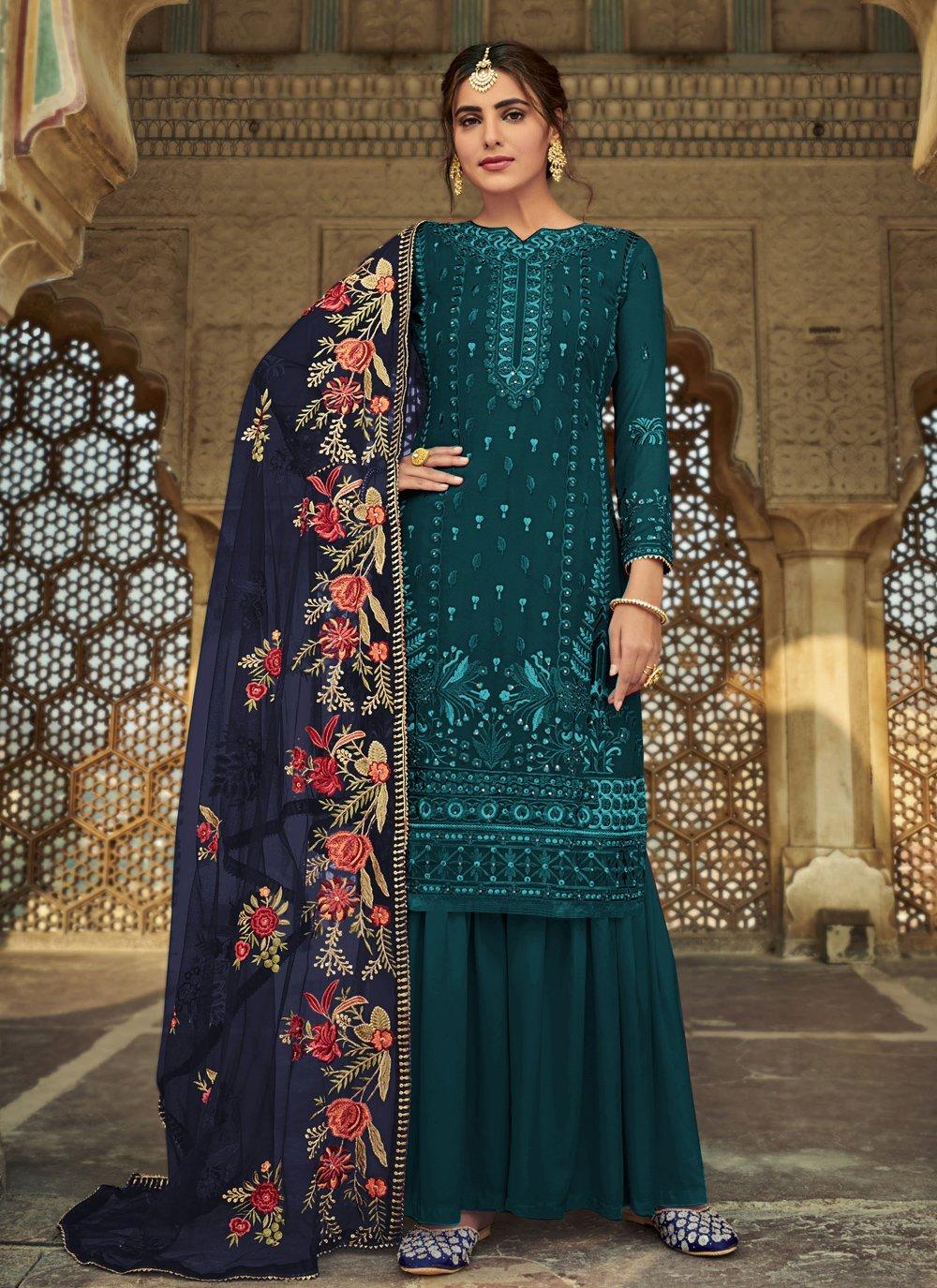 Faux Georgette Teal Designer Palazzo Suit