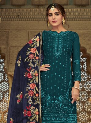 Faux Georgette Teal Designer Palazzo Suit