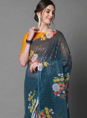 Faux Georgette Teal Sequins Classic Designer Saree