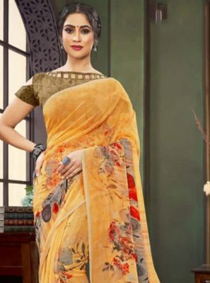 Faux Georgette Traditional Saree in Yellow
