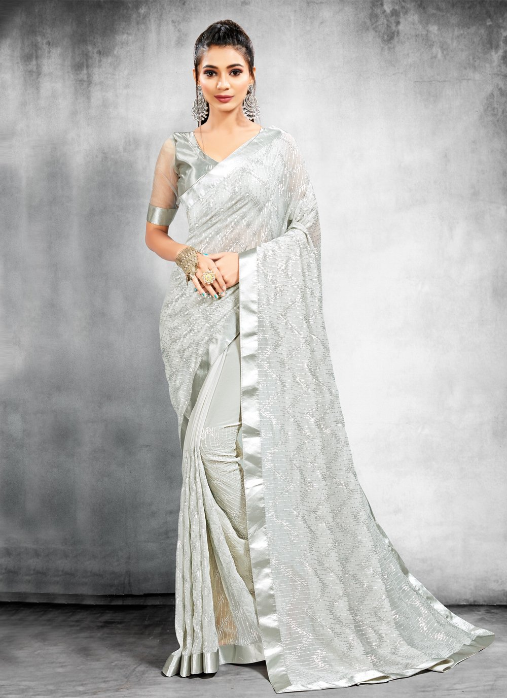 Faux Georgette Trendy Saree in Grey