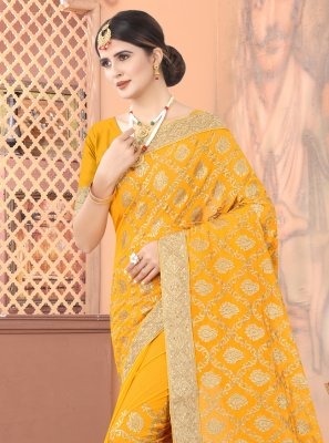 Faux Georgette Trendy Saree in Mustard