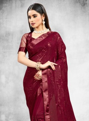 Faux Georgette Wine Sequins Classic Designer Saree
