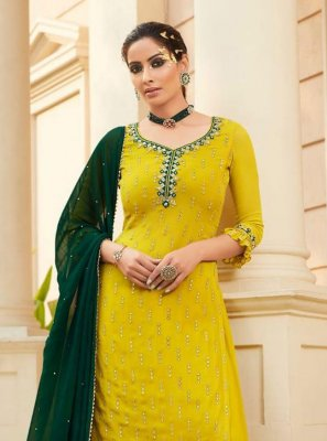 Faux Georgette Yellow Embroidered Designer Palazzo Salwar Kameez