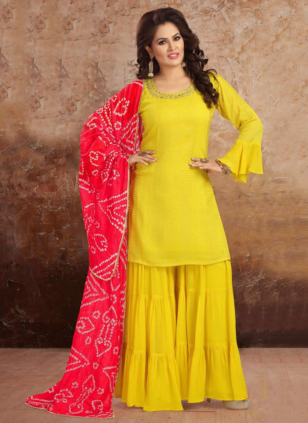 Faux Georgette Yellow Embroidered Readymade Suit