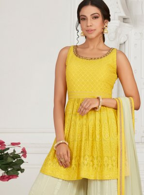 Faux Georgette Yellow Fancy Designer Palazzo Salwar Suit
