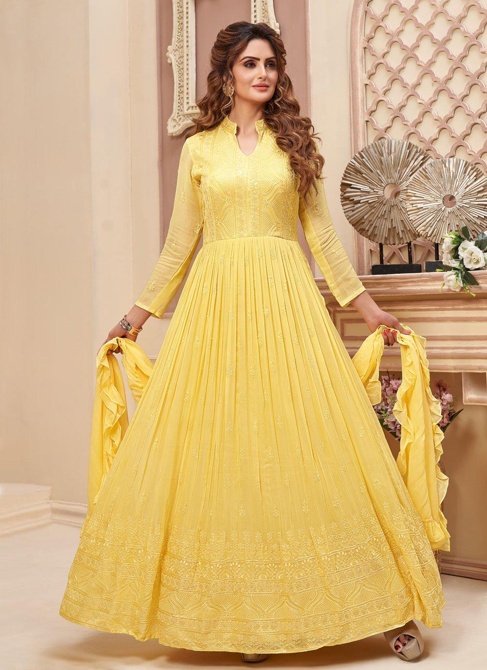 Faux Georgette Yellow Readymade Anarkali Suit