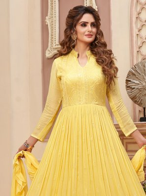 Faux Georgette Yellow Readymade Anarkali Suit