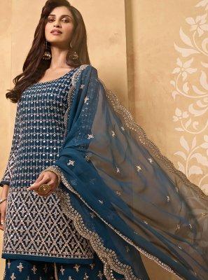 Faux Georgette Zari Blue Designer Palazzo Salwar Kameez