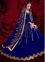 Faux Georgette Zari Blue Floor Length Anarkali Suit